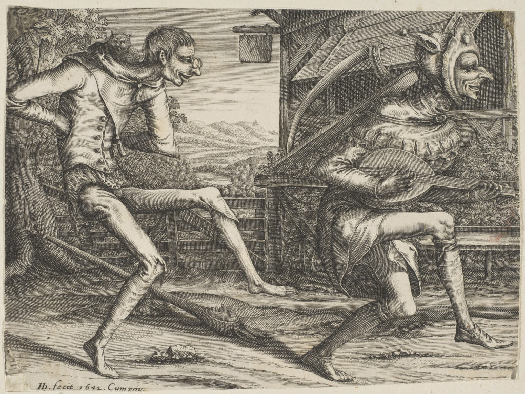 Two Fools Dancing from Two and Three Fools of the Carnival, Hendrik Hondius (1573 – 1649 )