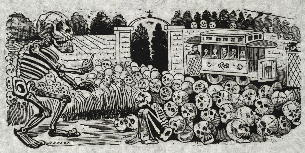 Gran calavera eléctrica (Grand electric skull) av  José Guadalupe Posada (1852-1913)